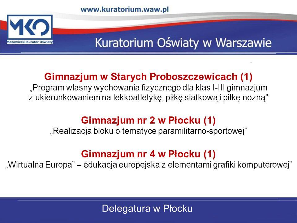 Gimnazjum w Starych Proboszczewicach (1) Program własny wychowania fizycznego dla klas I-III gimnazjum z ukierunkowaniem na lekkoatletykę, piłkę siatkową i piłkę nożną Gimnazjum nr 2 w Płocku (1) Realizacja bloku o tematyce paramilitarno-sportowej Gimnazjum nr 4 w Płocku (1) Wirtualna Europa – edukacja europejska z elementami grafiki komputerowej