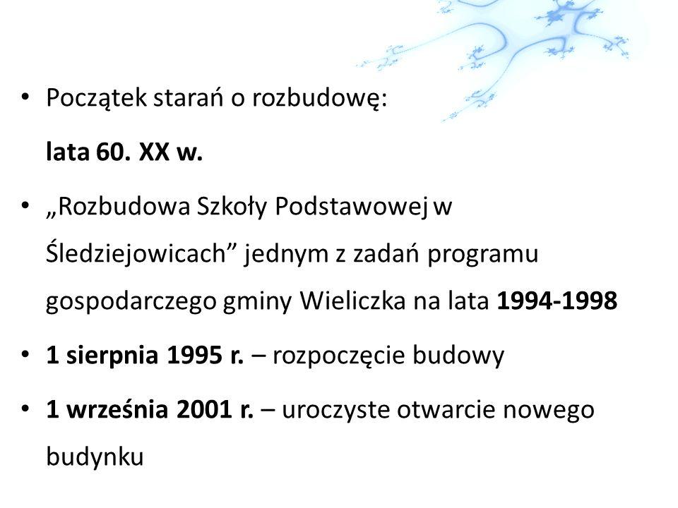 Początek starań o rozbudowę: lata 60. XX w. Rozbudowa Szkoły Podstawowej w Śledziejowicach jednym z zadań programu gospodarczego gminy Wieliczka na la