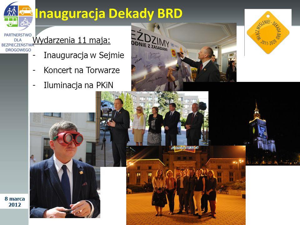 Wydarzenia 11 maja: -Inauguracja w Sejmie -Koncert na Torwarze -Iluminacja na PKiN Inauguracja Dekady BRD