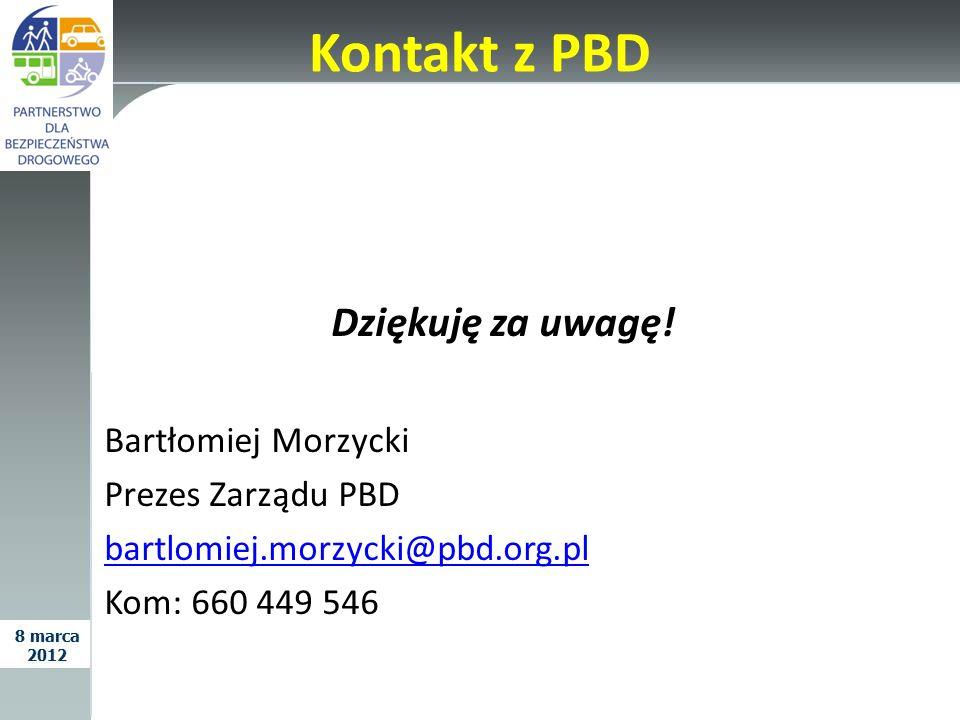 Kontakt z PBD Dziękuję za uwagę! Bartłomiej Morzycki Prezes Zarządu PBD bartlomiej.morzycki@pbd.org.pl Kom: 660 449 546