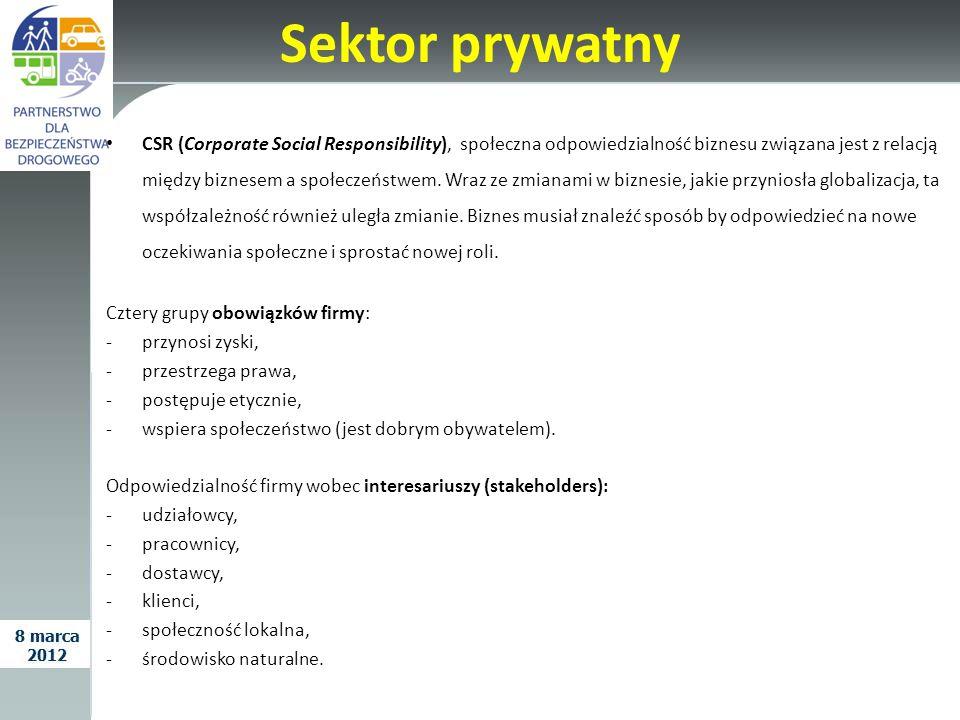 Sektor prywatny CSR (Corporate Social Responsibility), społeczna odpowiedzialność biznesu związana jest z relacją między biznesem a społeczeństwem. Wr