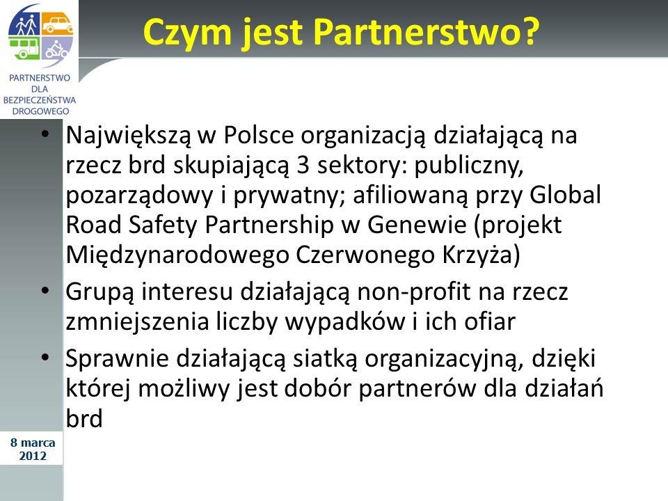 Czym jest Partnerstwo? Największą w Polsce organizacją działającą na rzecz brd skupiającą 3 sektory: publiczny, pozarządowy i prywatny; afiliowaną prz