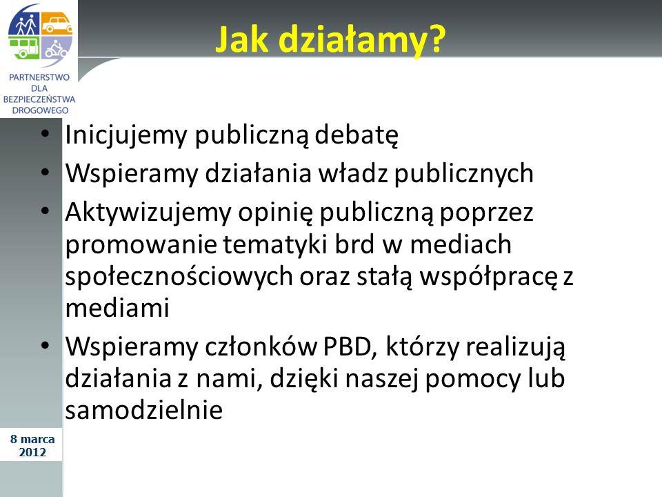 Jak działamy? Inicjujemy publiczną debatę Wspieramy działania władz publicznych Aktywizujemy opinię publiczną poprzez promowanie tematyki brd w mediac