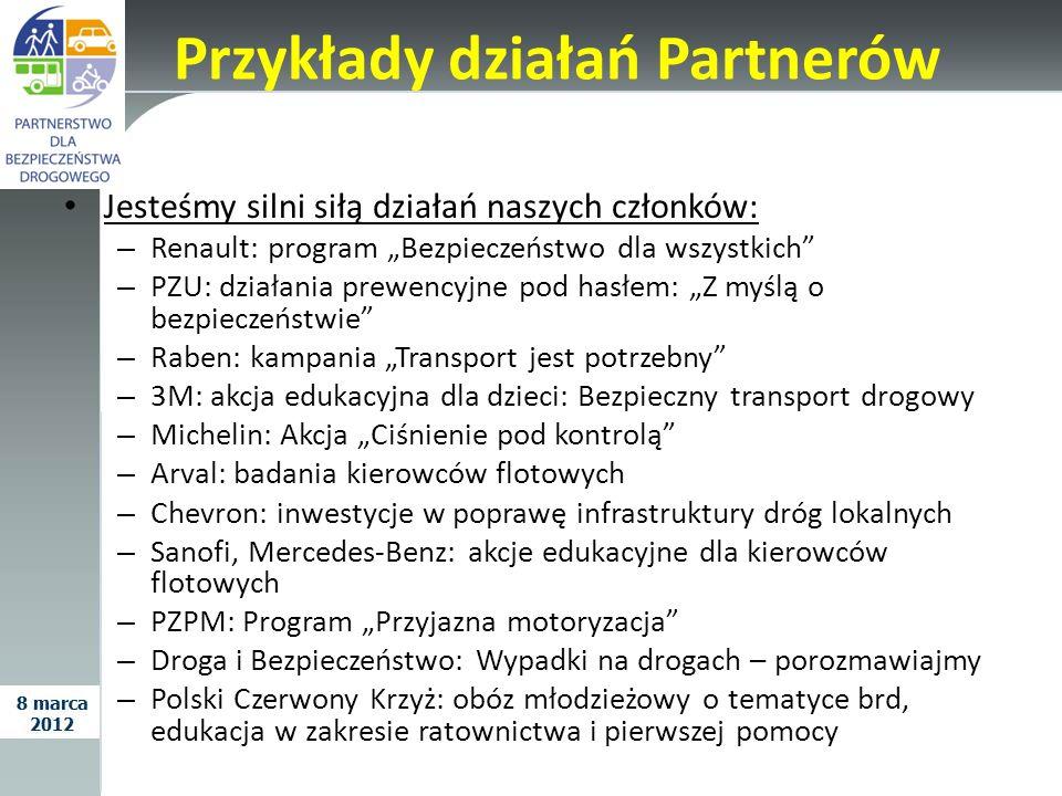 Przykłady działań Partnerów Jesteśmy silni siłą działań naszych członków: – Renault: program Bezpieczeństwo dla wszystkich – PZU: działania prewencyjn