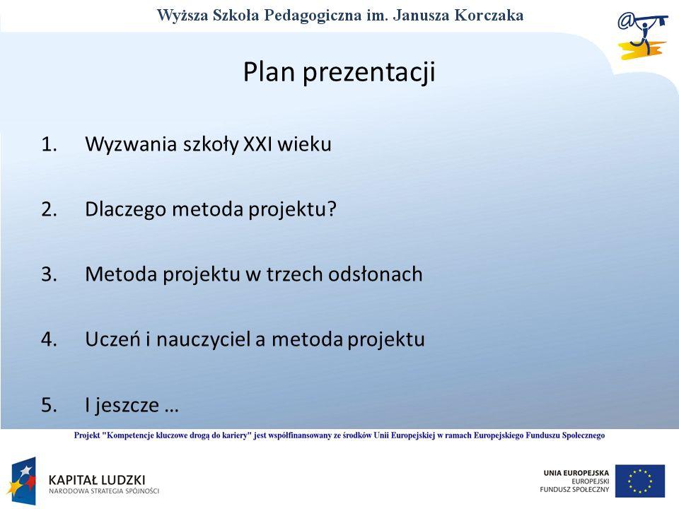 Plan prezentacji 1. Wyzwania szkoły XXI wieku 2. Dlaczego metoda projektu.