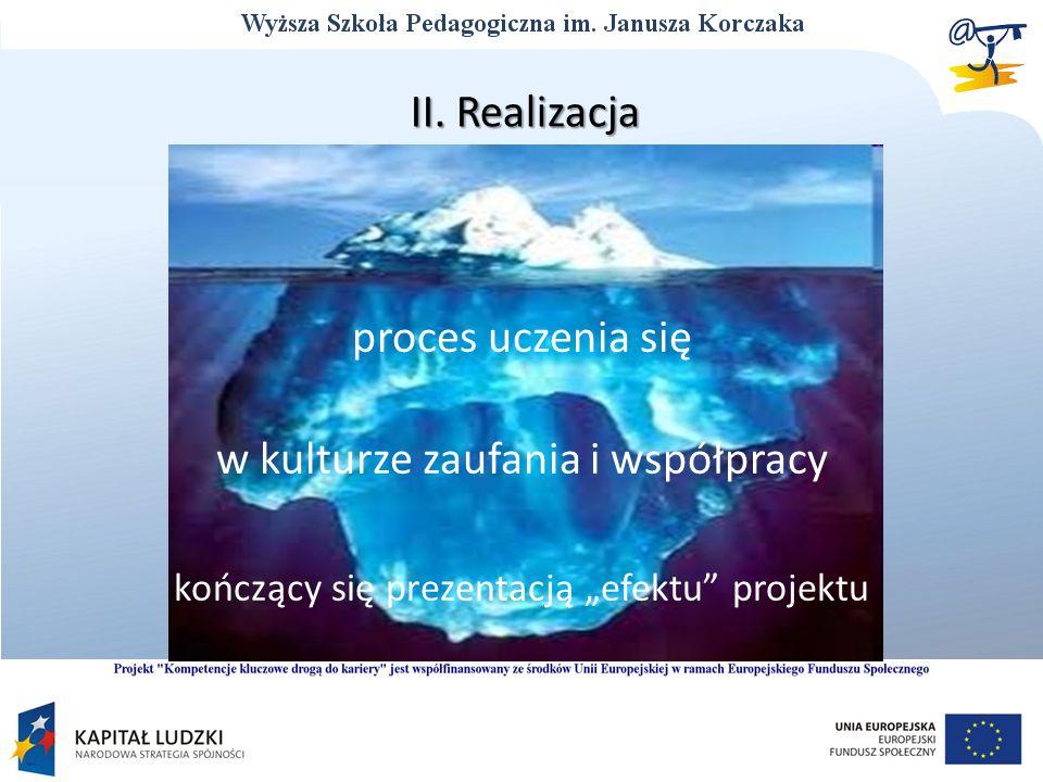 II. Realizacja proces uczenia się w kulturze zaufania i współpracy kończący się prezentacją efektu projektu