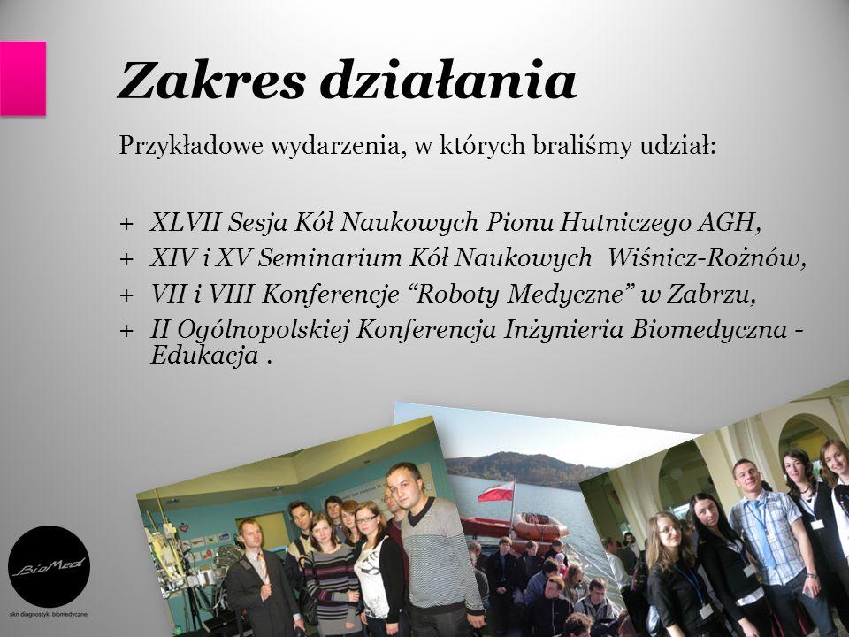 Zakres działania Przykładowe wydarzenia, w których braliśmy udział: +XLVII Sesja Kół Naukowych Pionu Hutniczego AGH, +XIV i XV Seminarium Kół Naukowyc