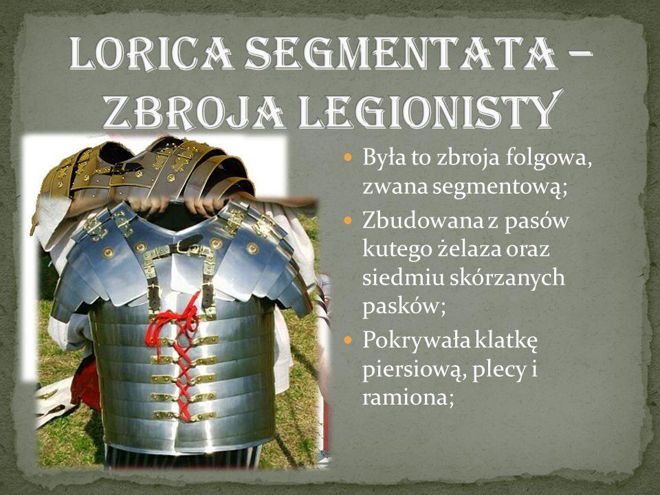 Była to zbroja folgowa, zwana segmentową; Zbudowana z pasów kutego żelaza oraz siedmiu skórzanych pasków; Pokrywała klatkę piersiową, plecy i ramiona;