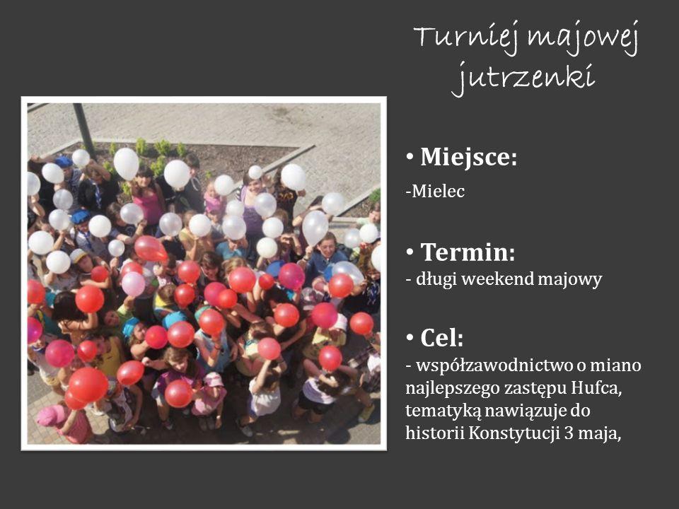 Turniej majowej jutrzenki Miejsce: -Mielec Termin: - długi weekend majowy Cel: - współzawodnictwo o miano najlepszego zastępu Hufca, tematyką nawiązuje do historii Konstytucji 3 maja,