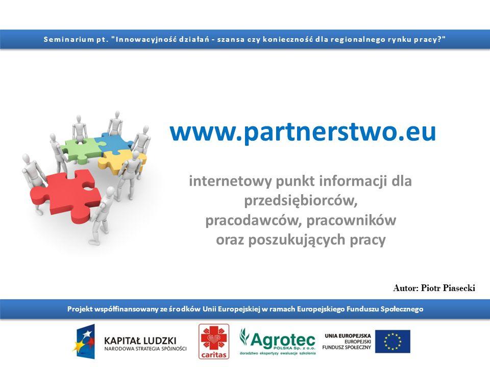 www.partnerstwo.eu Projekt współfinansowany ze środków Unii Europejskiej w ramach Europejskiego Funduszu Społecznego Seminarium pt.