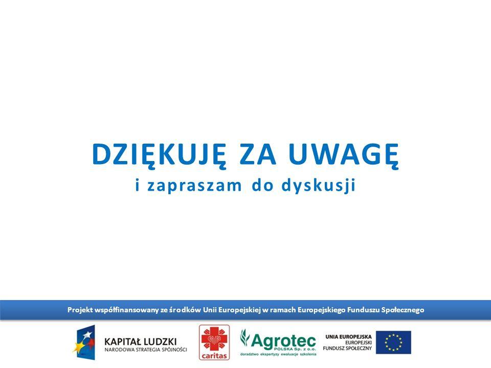 DZIĘKUJĘ ZA UWAGĘ i zapraszam do dyskusji Projekt współfinansowany ze środków Unii Europejskiej w ramach Europejskiego Funduszu Społecznego