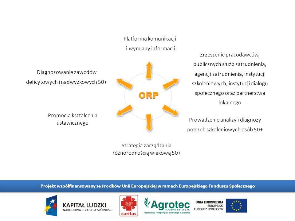 Platforma komunikacji i wymiany informacji Diagnozowanie zawodów deficytowych i nadwyżkowych 50+ Promocja kształcenia ustawicznego Strategia zarządzania różnorodnością wiekową 50+ Prowadzenie analizy i diagnozy potrzeb szkoleniowych osób 50+ Zrzeszenie pracodawców, publicznych służb zatrudnienia, agencji zatrudnienia, instytucji szkoleniowych, instytucji dialogu społecznego oraz partnerstwa lokalnego
