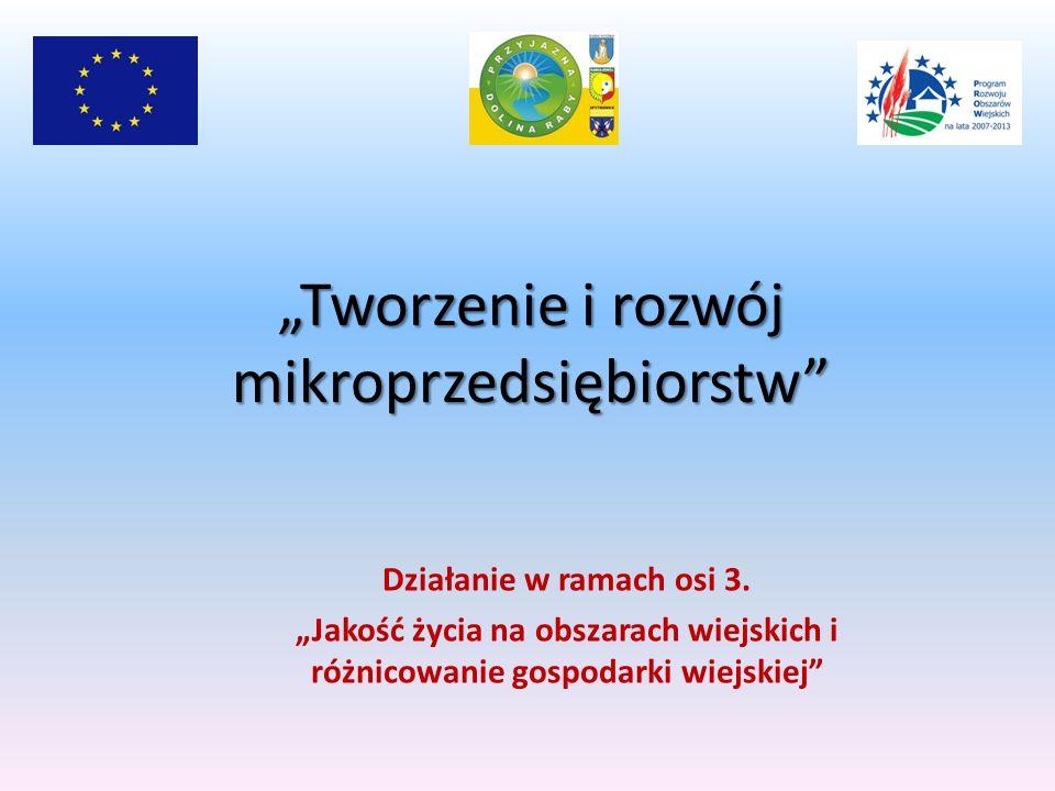 Tworzenie i rozwój mikroprzedsiębiorstw Działanie w ramach osi 3.