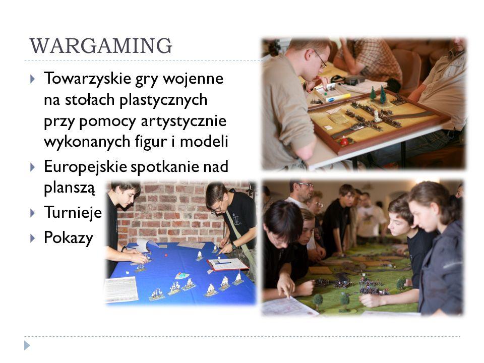 WARGAMING Towarzyskie gry wojenne na stołach plastycznych przy pomocy artystycznie wykonanych figur i modeli Europejskie spotkanie nad planszą Turnieje Pokazy