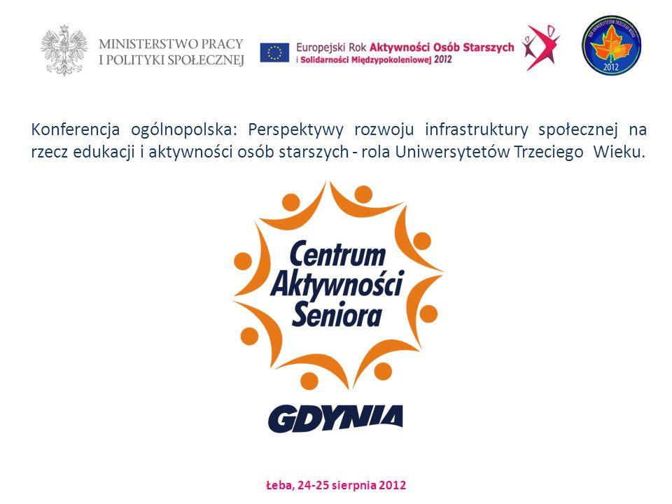 Łeba, 24-25 sierpnia 2012 Konferencja ogólnopolska: Perspektywy rozwoju infrastruktury społecznej na rzecz edukacji i aktywności osób starszych - rola Uniwersytetów Trzeciego Wieku.
