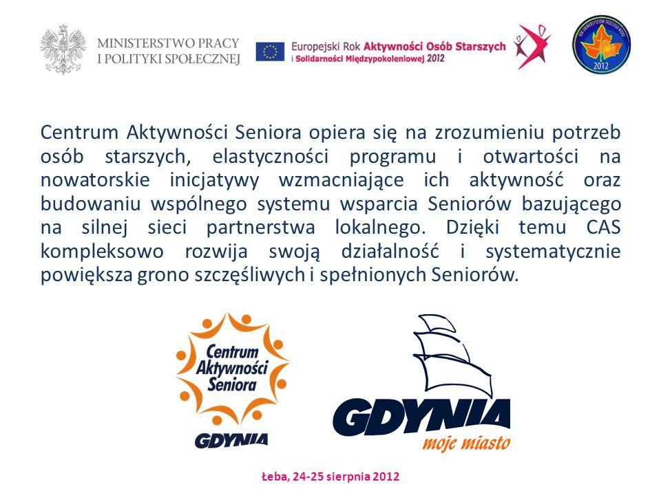 Łeba, 24-25 sierpnia 2012 Centrum Aktywności Seniora opiera się na zrozumieniu potrzeb osób starszych, elastyczności programu i otwartości na nowatorskie inicjatywy wzmacniające ich aktywność oraz budowaniu wspólnego systemu wsparcia Seniorów bazującego na silnej sieci partnerstwa lokalnego.