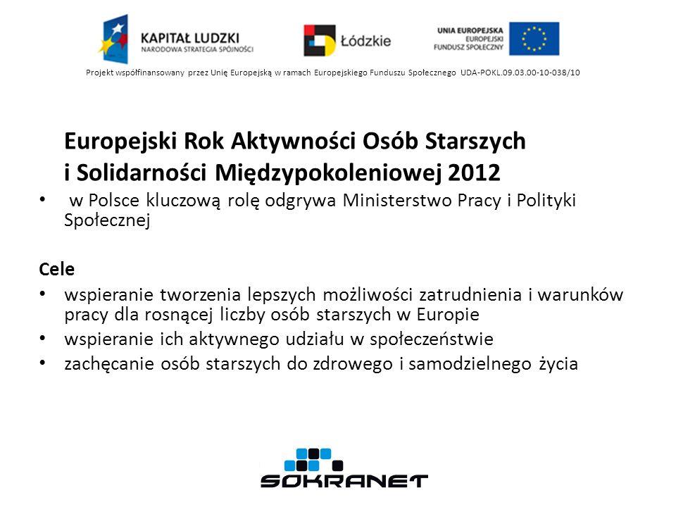Europejski Rok Aktywności Osób Starszych i Solidarności Międzypokoleniowej 2012 w Polsce kluczową rolę odgrywa Ministerstwo Pracy i Polityki Społecznej Cele wspieranie tworzenia lepszych możliwości zatrudnienia i warunków pracy dla rosnącej liczby osób starszych w Europie wspieranie ich aktywnego udziału w społeczeństwie zachęcanie osób starszych do zdrowego i samodzielnego życia Projekt współfinansowany przez Unię Europejską w ramach Europejskiego Funduszu Społecznego UDA-POKL.09.03.00-10-038/10