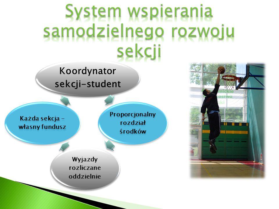 Koordynator sekcji-student Proporcjonalny rozdział środków Wyjazdy rozliczane oddzielnie Każda sekcja - własny fundusz