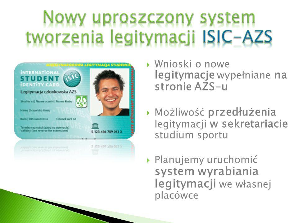Wnioski o nowe legitymacje wypełniane na stronie AZS-u Możliwość przedłużenia legitymacji w sekretariacie studium sportu Planujemy uruchomić system wy