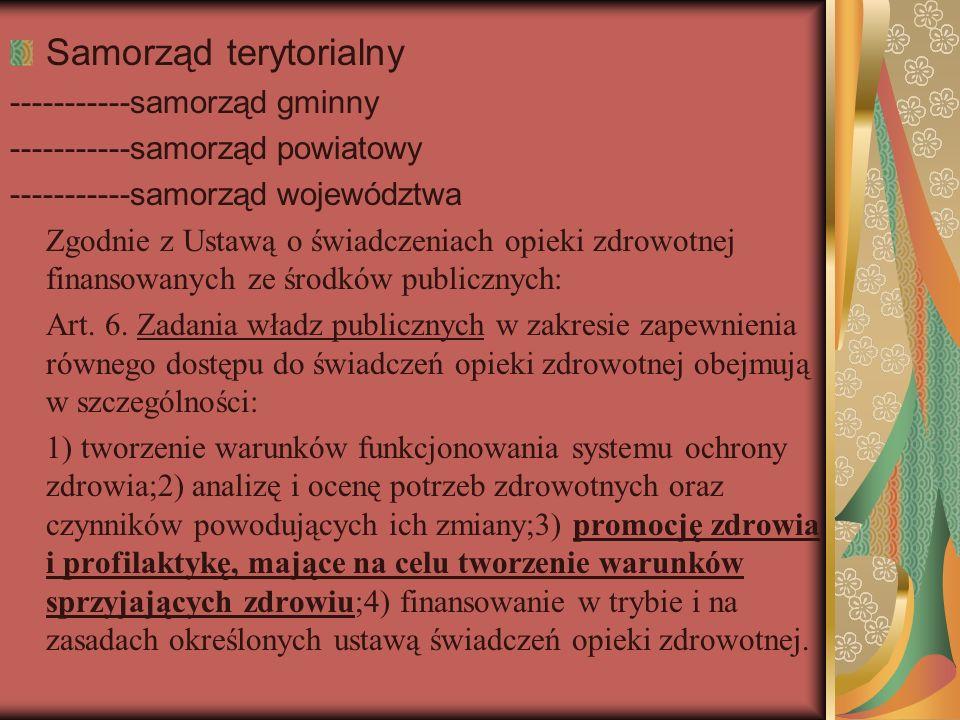 Samorząd terytorialny -----------samorząd gminny -----------samorząd powiatowy -----------samorząd województwa Zgodnie z Ustawą o świadczeniach opieki