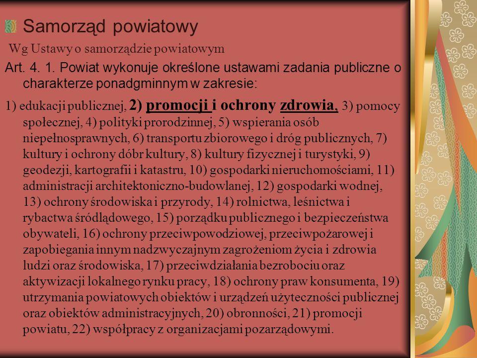 Samorząd powiatowy Wg Ustawy o samorządzie powiatowym Art. 4. 1. Powiat wykonuje określone ustawami zadania publiczne o charakterze ponadgminnym w zak