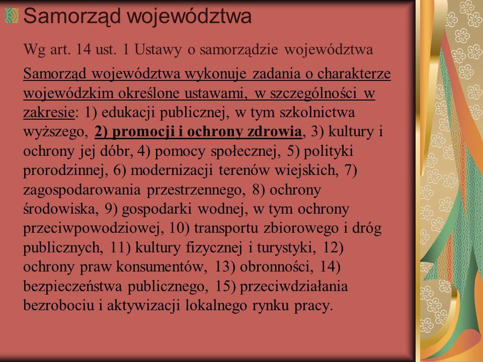 Samorząd województwa Wg art. 14 ust. 1 Ustawy o samorządzie województwa Samorząd województwa wykonuje zadania o charakterze wojewódzkim określone usta