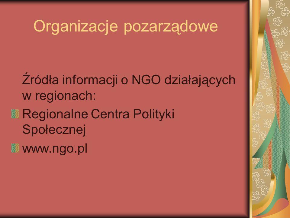 Organizacje pozarządowe Źródła informacji o NGO działających w regionach: Regionalne Centra Polityki Społecznej www.ngo.pl