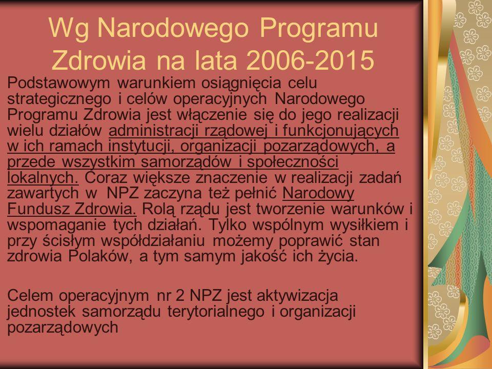 Wg Narodowego Programu Zdrowia na lata 2006-2015 Podstawowym warunkiem osiągnięcia celu strategicznego i celów operacyjnych Narodowego Programu Zdrowi