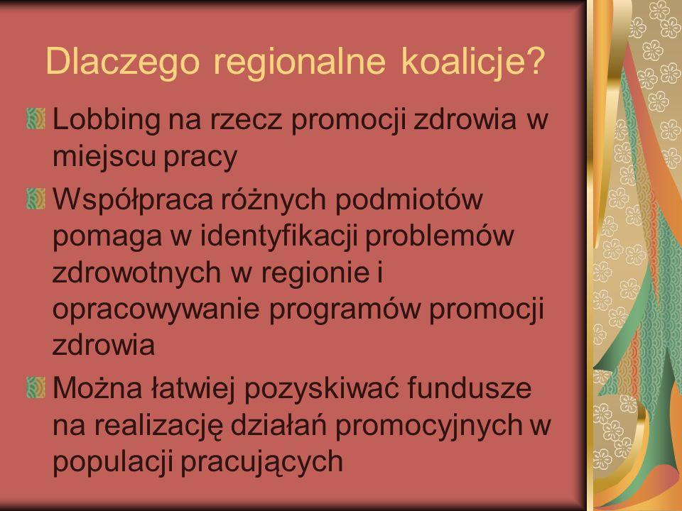 Dlaczego regionalne koalicje? Lobbing na rzecz promocji zdrowia w miejscu pracy Współpraca różnych podmiotów pomaga w identyfikacji problemów zdrowotn
