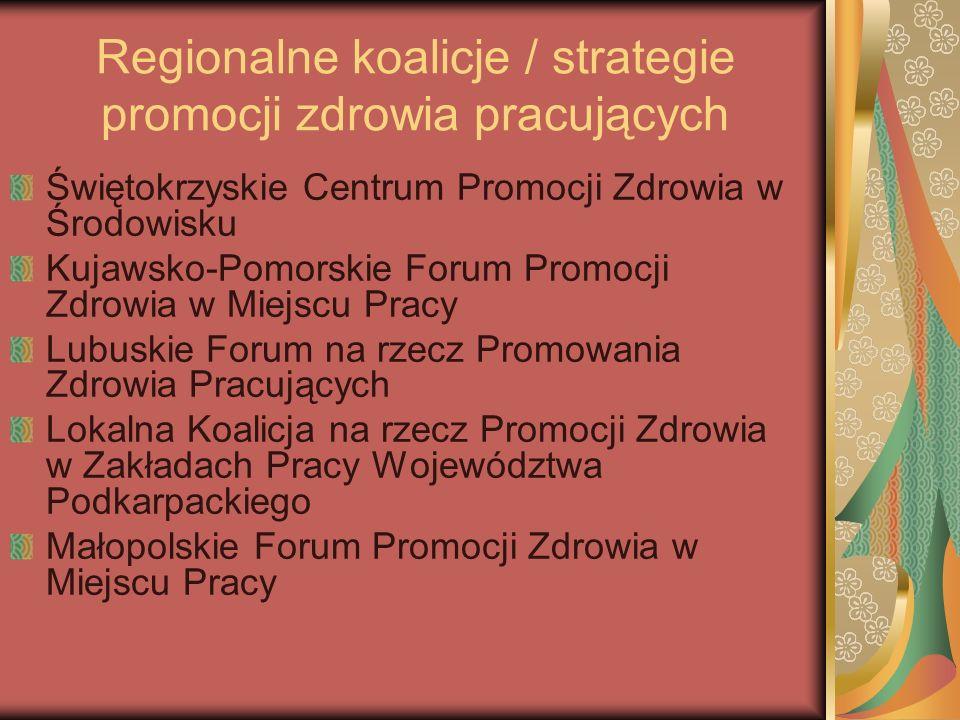 Regionalne koalicje / strategie promocji zdrowia pracujących Świętokrzyskie Centrum Promocji Zdrowia w Środowisku Kujawsko-Pomorskie Forum Promocji Zd