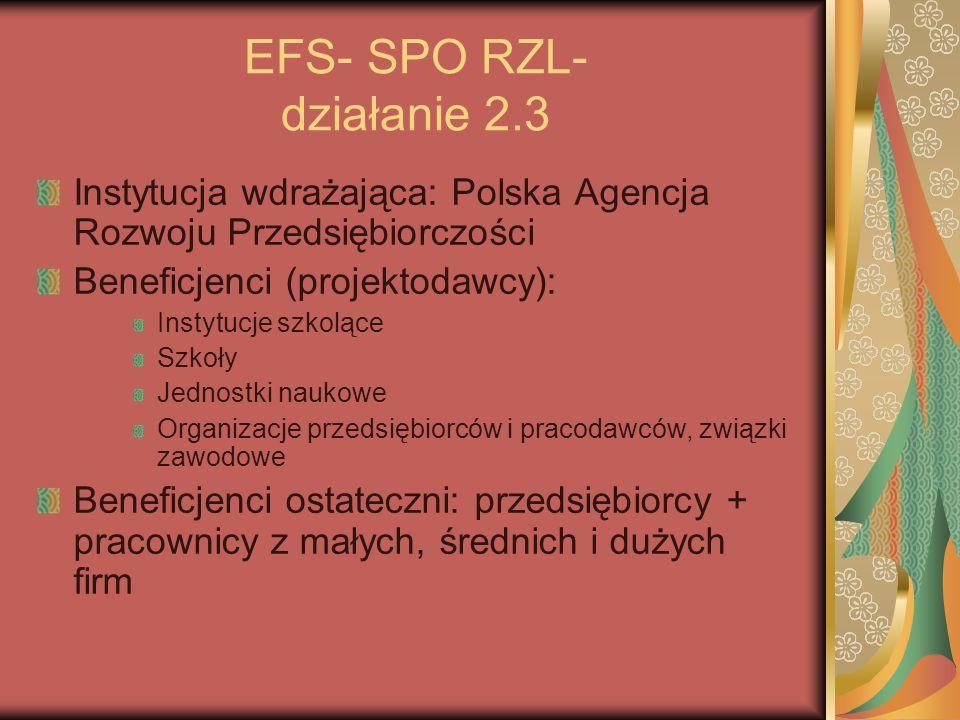 EFS- SPO RZL- działanie 2.3 Instytucja wdrażająca: Polska Agencja Rozwoju Przedsiębiorczości Beneficjenci (projektodawcy): Instytucje szkolące Szkoły