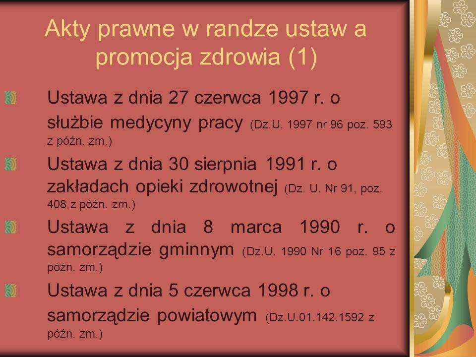 Akty prawne w randze ustaw a promocja zdrowia (1) Ustawa z dnia 27 czerwca 1997 r. o służbie medycyny pracy (Dz.U. 1997 nr 96 poz. 593 z późn. zm.) Us