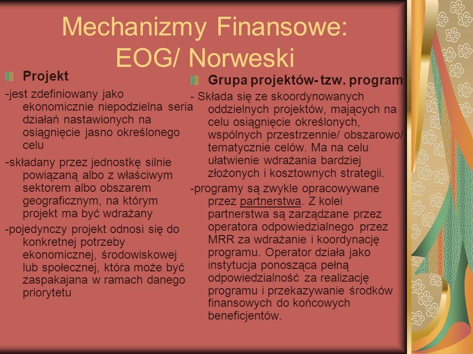 Mechanizmy Finansowe: EOG/ Norweski Projekt - jest zdefiniowany jako ekonomicznie niepodzielna seria działań nastawionych na osiągnięcie jasno określo