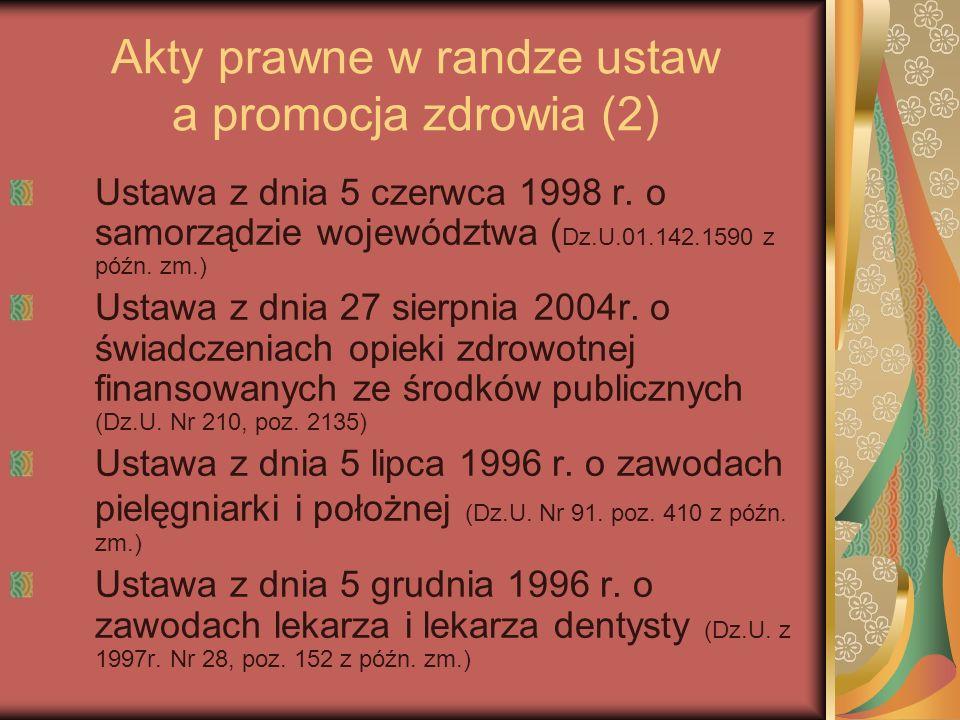 Akty prawne w randze ustaw a promocja zdrowia (2) Ustawa z dnia 5 czerwca 1998 r. o samorządzie województwa ( Dz.U.01.142.1590 z późn. zm.) Ustawa z d
