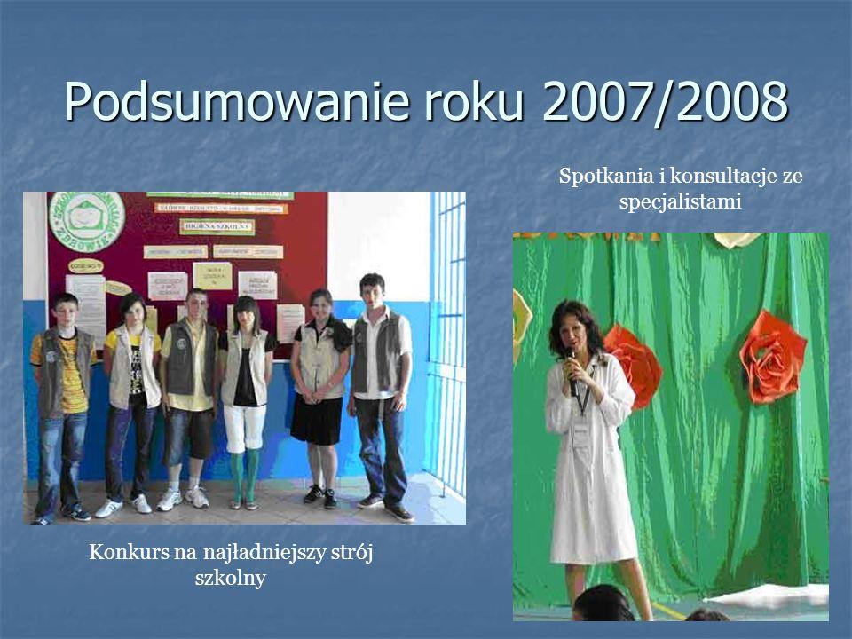 Podsumowanie roku 2007/2008 Konkurs na najładniejszy strój szkolny Spotkania i konsultacje ze specjalistami