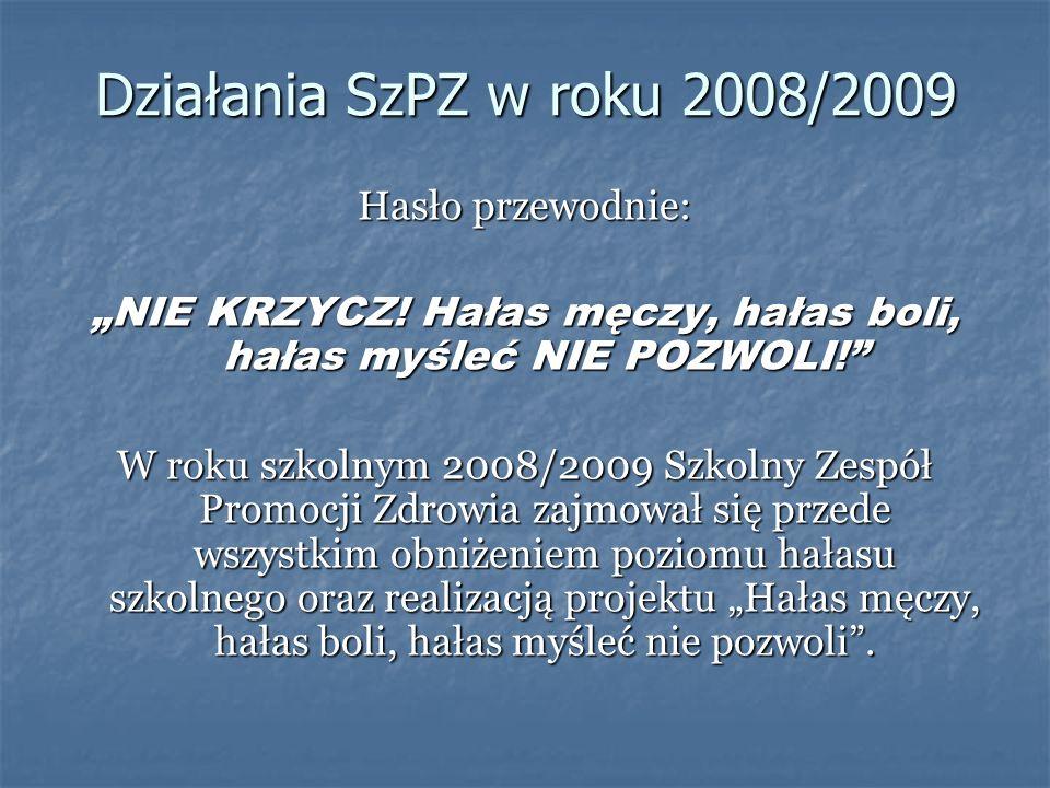 Działania SzPZ w roku 2008/2009 Hasło przewodnie: NIE KRZYCZ! Hałas męczy, hałas boli, hałas myśleć NIE POZWOLI! W roku szkolnym 2008/2009 Szkolny Zes