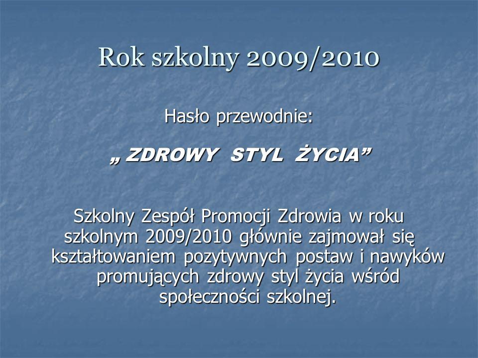 Rok szkolny 2009/2010 Hasło przewodnie: ZDROWY STYL ŻYCIA ZDROWY STYL ŻYCIA Szkolny Zespół Promocji Zdrowia w roku szkolnym 2009/2010 głównie zajmował