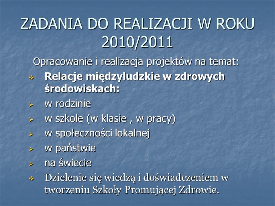 ZADANIA DO REALIZACJI W ROKU 2010/2011 Opracowanie i realizacja projektów na temat: Relacje międzyludzkie w zdrowych środowiskach: Relacje międzyludzk