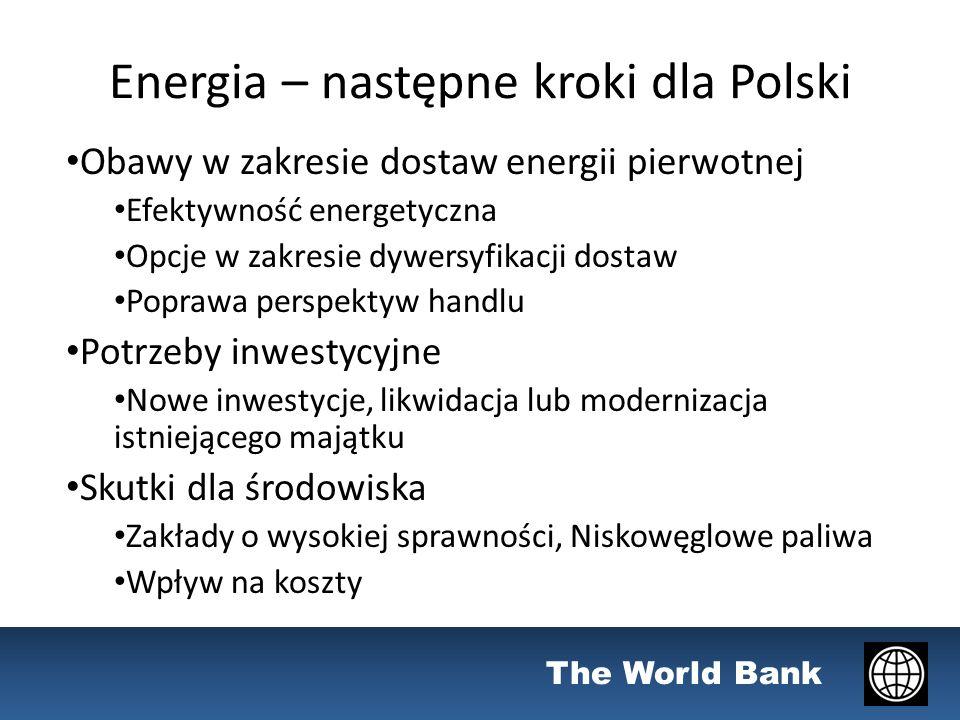 The World Bank Energia – następne kroki dla Polski Obawy w zakresie dostaw energii pierwotnej Efektywność energetyczna Opcje w zakresie dywersyfikacji dostaw Poprawa perspektyw handlu Potrzeby inwestycyjne Nowe inwestycje, likwidacja lub modernizacja istniejącego majątku Skutki dla środowiska Zakłady o wysokiej sprawności, Niskowęglowe paliwa Wpływ na koszty