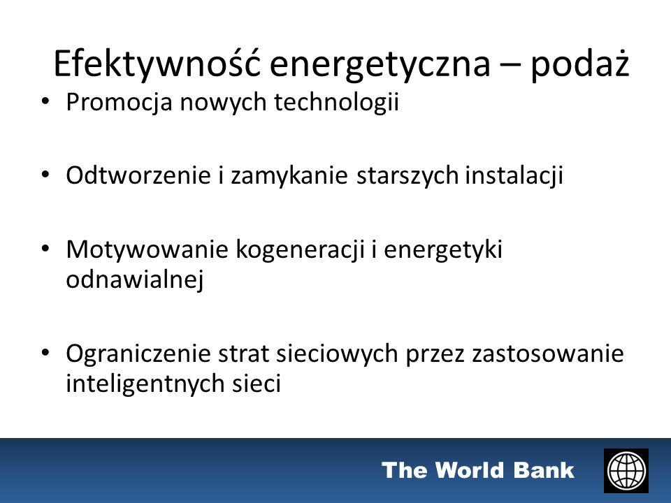 The World Bank Efektywność energetyczna – podaż Promocja nowych technologii Odtworzenie i zamykanie starszych instalacji Motywowanie kogeneracji i energetyki odnawialnej Ograniczenie strat sieciowych przez zastosowanie inteligentnych sieci