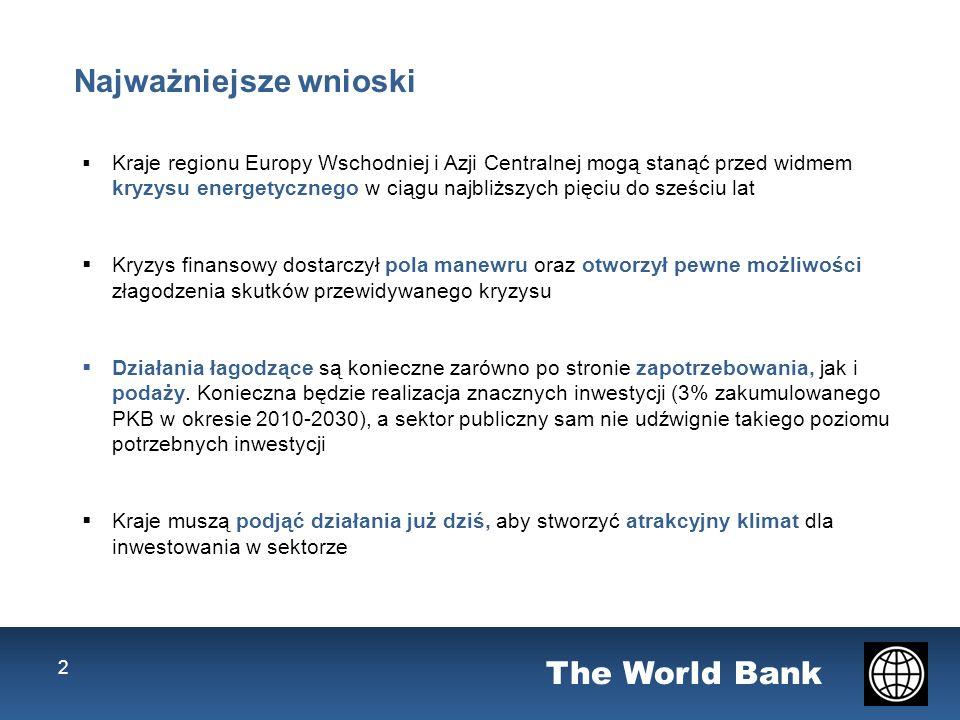 The World Bank Najważniejsze wnioski Kraje regionu Europy Wschodniej i Azji Centralnej mogą stanąć przed widmem kryzysu energetycznego w ciągu najbliższych pięciu do sześciu lat Kryzys finansowy dostarczył pola manewru oraz otworzył pewne możliwości złagodzenia skutków przewidywanego kryzysu Działania łagodzące są konieczne zarówno po stronie zapotrzebowania, jak i podaży.