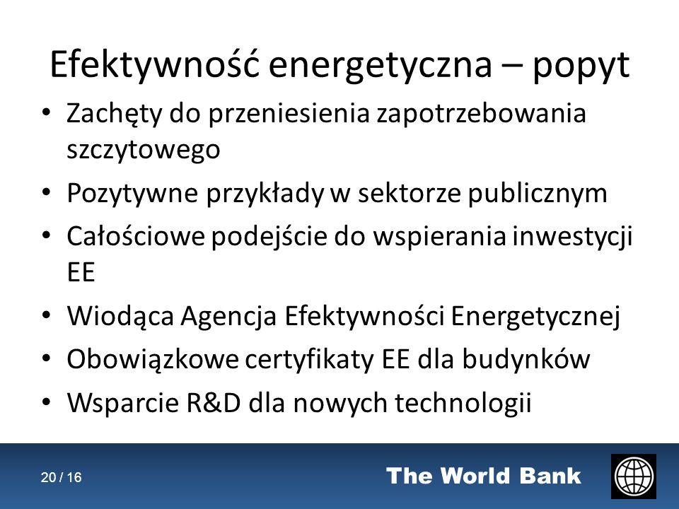 The World Bank Efektywność energetyczna – popyt Zachęty do przeniesienia zapotrzebowania szczytowego Pozytywne przykłady w sektorze publicznym Całościowe podejście do wspierania inwestycji EE Wiodąca Agencja Efektywności Energetycznej Obowiązkowe certyfikaty EE dla budynków Wsparcie R&D dla nowych technologii 20 / 16
