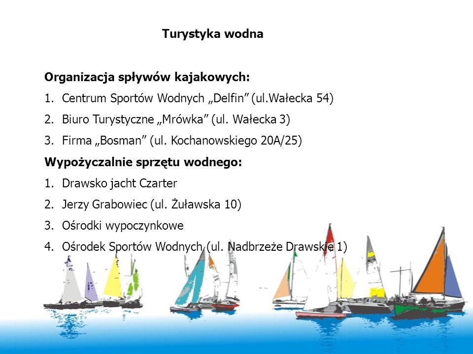Turystyka wodna Organizacja spływów kajakowych: 1.Centrum Sportów Wodnych Delfin (ul.Wałecka 54) 2.Biuro Turystyczne Mrówka (ul. Wałecka 3) 3.Firma Bo