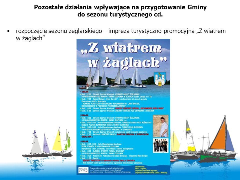 Pozostałe działania wpływające na przygotowanie Gminy do sezonu turystycznego cd. rozpoczęcie sezonu żeglarskiego – impreza turystyczno-promocyjna Z w