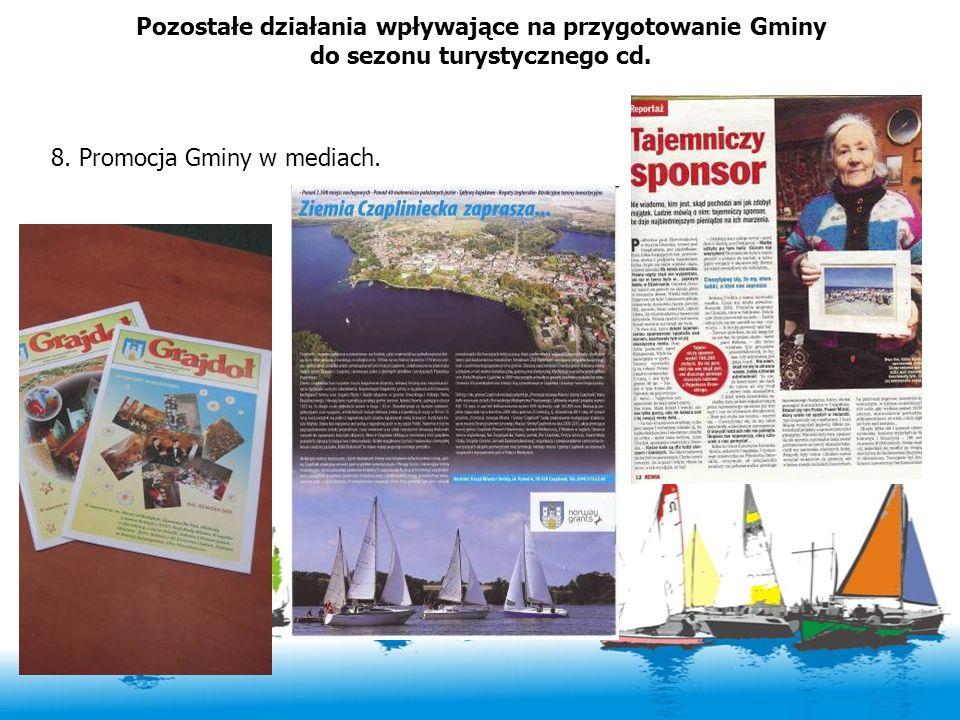 Pozostałe działania wpływające na przygotowanie Gminy do sezonu turystycznego cd. 8. Promocja Gminy w mediach.