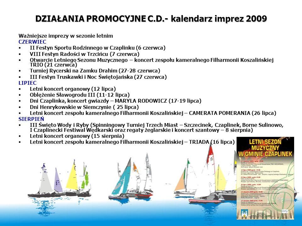 DZIAŁANIA PROMOCYJNE C.D.- kalendarz imprez 2009 Ważniejsze imprezy w sezonie letnim CZERWIEC II Festyn Sportu Rodzinnego w Czaplinku (6 czerwca) VIII