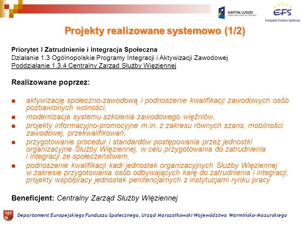 Projekty realizowane systemowo (1/2) Priorytet I Zatrudnienie i Integracja Społeczna Działanie 1.3 Ogólnopolskie Programy Integracji i Aktywizacji Zawodowej Poddziałanie 1.3.4 Centralny Zarząd Służby Więziennej Realizowane poprzez: aktywizację społeczno-zawodową i podnoszenie kwalifikacji zawodowych osób pozbawionych wolności, modernizacja systemu szkolenia zawodowego więźniów, projekty informacyjno-promocyjne m.in.