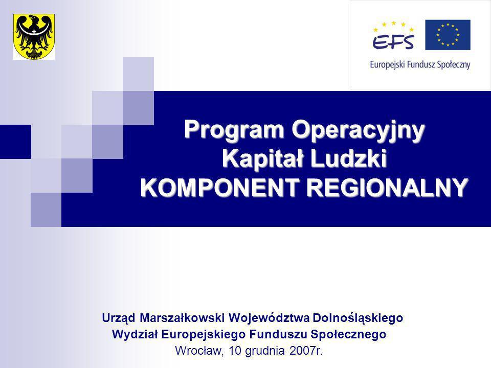 Program Operacyjny Kapitał Ludzki KOMPONENT REGIONALNY Urząd Marszałkowski Województwa Dolnośląskiego Wydział Europejskiego Funduszu Społecznego Wrocław, 10 grudnia 2007r.
