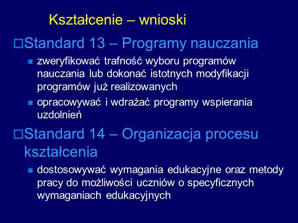 Kształcenie – wnioski Standard 13 – Programy nauczania zweryfikować trafność wyboru programów nauczania lub dokonać istotnych modyfikacji programów ju
