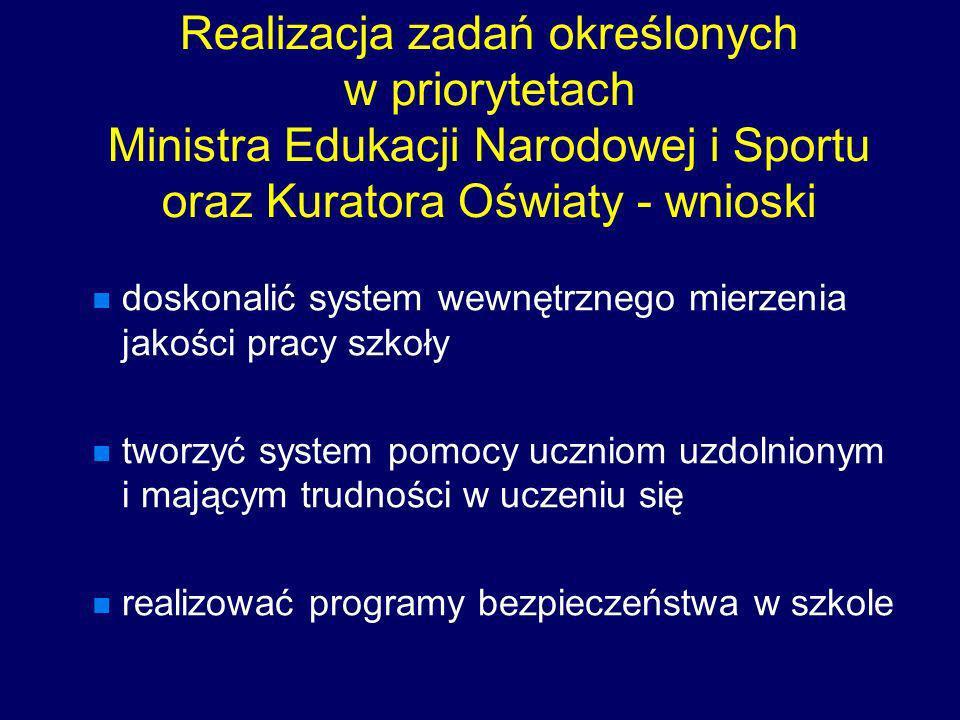 Realizacja zadań określonych w priorytetach Ministra Edukacji Narodowej i Sportu oraz Kuratora Oświaty - wnioski doskonalić system wewnętrznego mierze